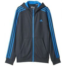 adidas boys dark grey ess 3 stripe zip up hoodie. Sweat top.Track top. Ages 7-16