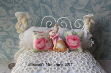 ooak dollhouse miniature Bunny Rabbit pillow set cottage chic pink roses