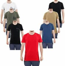 New Men Loyality & Faith Brand Crew Neck Contrasted Pocket Long Line T Shirt Top