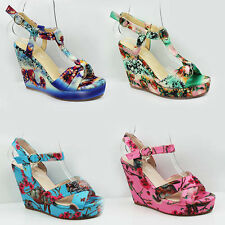 WOMENS LADIES STRAPPY PLATFORM WEDGE HEEL FLORAL SANDALS SHOES SIZE 3-8