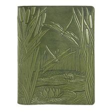 Dragonfly Pond Leather Composition Notebook Cover fern 8.25x10.25 Oberon Design