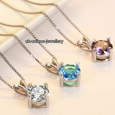 VALENTINES DEALS - 925 Silver Round Crystal Diamond Necklace Gifts For Her Women