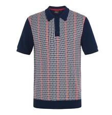 BNWT - Merc London Picton Knitted Polo - Navy - SMALL