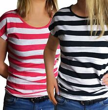 UK Size 10 - 18 Ladies DOUBLE PACK Striped T-Shirts Tees-White/Red & White/Black