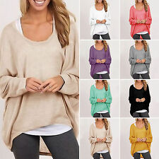 Oversized Womens Slouchy Knitted Pullover Blouse Baggy Jumper Shirt Tops UK 8-24