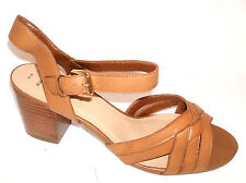 WOMENS NEW LOOK SIZE 9 43 WIDE FIT TAN REAL LEATHER TRANSVESTITE SANDALS SHOES