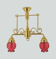 Dollhouse Miniature Ornate  Pink Victorian Hanging Lights