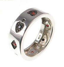 NEW 925 sterling silver PLAYING CARDS mens ring, Poker, Blackjack, sizes S T U W