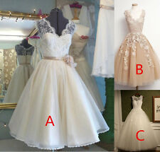 New 3 Style Tea length Wedding Dresses  A Line Prom Formal Evening Gowns Custom
