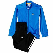 adidas boys blue/black zip up tracksuit. Jogging suit. Warm up suit. Ages 4-10Y.
