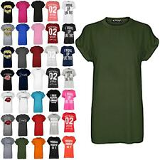 Womens Ladies Plain Stretch Baggy Oversized Short Turn Up Sleeve Tee T Shirt Top