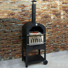 Outdoor Pizza Oven Wood Fired Garden Chimney Charcoal BBQ & Smoker Bread Oven
