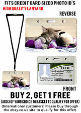 CAT & DOG ID BADGE HOLDER HOLDERS LANYARD CREDIT STUDENT WORK PASS CARD POUCH
