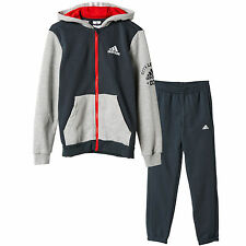 adidas boys grey hooded zip up tracksuit. Jogging suit. Age 9-10 years.