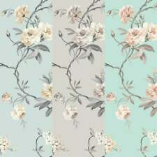 Fine Decor Chinoiserie Floral Wallpaper Stone, Teal, Duck Egg, Natural