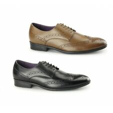 Azor LANCETTI Mens Leather Lace up Formal Round Toe Office Derby Brogues Shoes