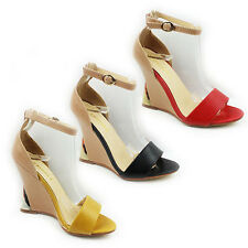 WOMENS LADIES STRAPPY HIGH SLIM WEDGE HEEL ANKLE STRAP SHOES SANDALS SIZE 2-8