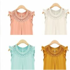 Womens Summer Chiffon Blouse V Neck Sleeveless Shirt Loose Casual Tee Tops