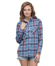 Moderno Women's Blue and Red Check Shirt (MOD064)