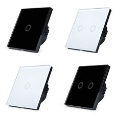 GLASS PANEL TOUCH LAMP LIGHT WALL SWITCH CONTROL 1 WAY 1 GANG 2 GANG BLACK WHITE