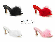 Pleaser Flapper-01F Shoes Spool Heels Slippers Slip On Mules Marabou Drag Queen