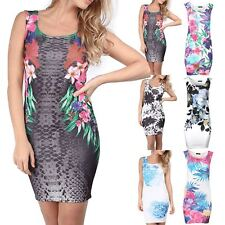 Ladies Womens Pencil Casual Bodycon Summer Multi Floral Print Tunic Mini Dress