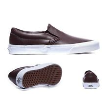 Mens Vans Classic Slip On Leather Burgundy Trainers RRP£51.99 (.PRFW1)