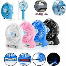 USB Fan Mini Portable Desk / Hand Cooling LED Light Travel 3 Speed Rechargeable