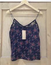 Zara floral TOP size S 8-10 & M 10-12 LACE print BLACK RED bnwt