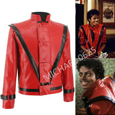 Michael Jackson Leather Thriller Red Jacket And Free Billie Jean Glove MJ