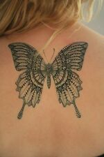 Large Classic Butterfly Temporary Tattoo Body Art - Stylish Black Ink Design