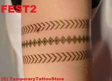Large Festival Band Temporary Tattoo Body Art with Feathers