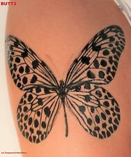 Large Spotted Butterfly Temporary Tattoo - Stylish Black Ink Design