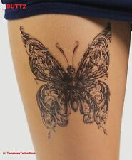Large Gothic Butterfly Temporary Tattoo Body Art - Stylish Black Ink Design