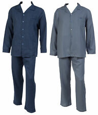 Striped Pyjamas Set Mens 100% Cotton Twill Walker Reid Long Sleeve Nightwear PJs