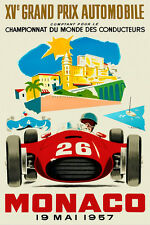 Vintage French Monaco Grand Prix Poster 1957 Motor Racing Sports Cars Fangio