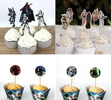 Star Wars Cupcake Toppers Wrappers Vader Storm Trooper Bobba Birthday Cake