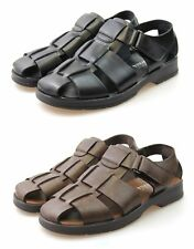 Mens Black Brown Leather Sandals Walking Summer Holiday Beach Sandals Shoes