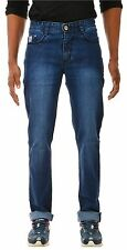Jeans Mens Mid Rise Blue Slim Fit Stretch Faded Shades denim pant