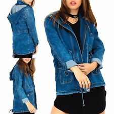 Womens Ladies Vintage Hooded Denim Pockets Zip Up Outerwear Windbreaker Jacket