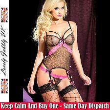 Exquisite Sexy Mesh Leopard Bustier With Garters UK stock Stockings Not Included