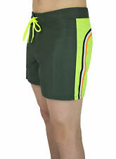 "COSTUME UOMO SUNDEK MARE BS/RB LOW RISE 14"" BICOLOR VERDE GIALLO SHORTS BOXER"