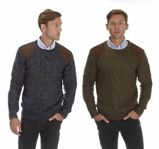 URBAN REVIVAL Mens Cable Knit Jumper Crew Neck Knitwear Winter Knitted Sweater