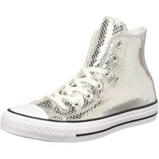 Converse Chuck Taylor All Star Metallic Scaled Hi Argento In Pelle