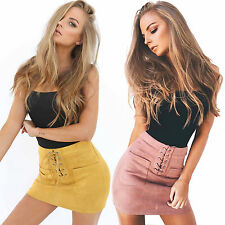 Womens Bandage Bodycon Skirt Ladies High Waist Stretch Mini Party Skirts Lace Up