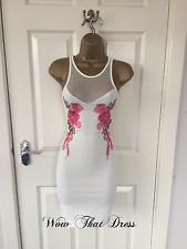 White Mesh Floral Embroidered Bodycon Party Summer Evening Stretch Mini Dress