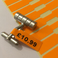 1000 Fluorescent Orange Price Tags Dumbell JEWELLERY Labels Stickers 51mm x 8mm