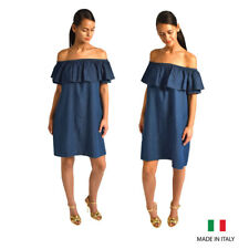 Womens Ladies Dark Blue Denim Look Off The Shoulder Bardot Aline Mini Dress