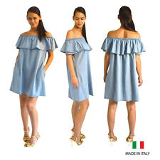 Womens Ladies Light Blue Denim Look Off The Shoulder Bardot Aline Mini Dress