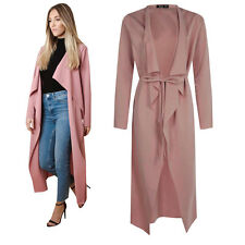 Dusty Pink Womens Maxi Midi Long Sleeved Belted Waterfall Duster Jacket, Coat